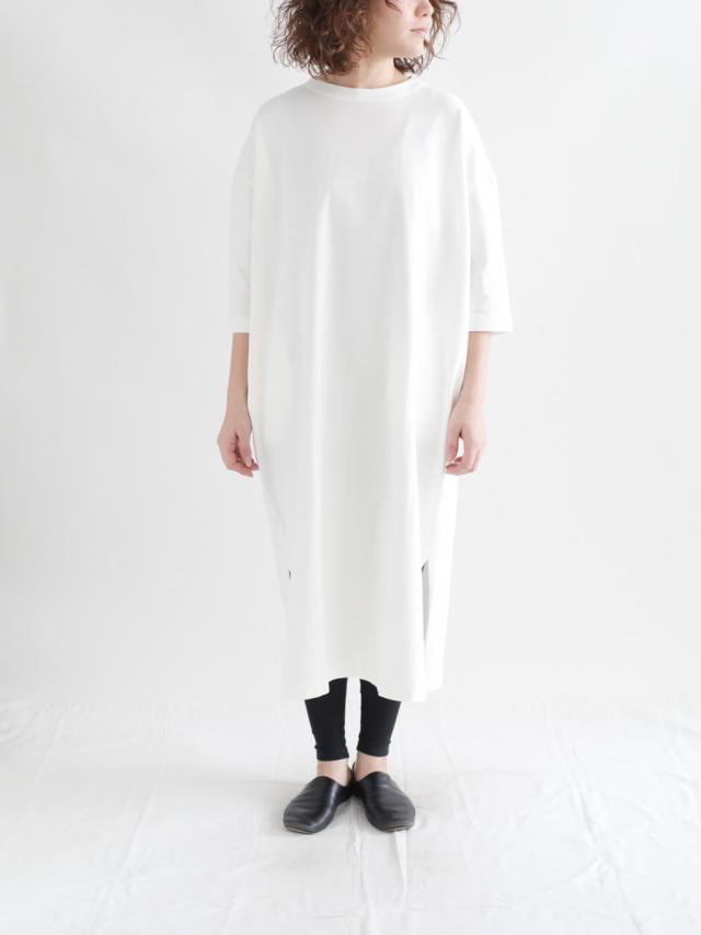 TRAVAIL MANUEL / 度詰天竺7分袖ワンピース ホワイト
