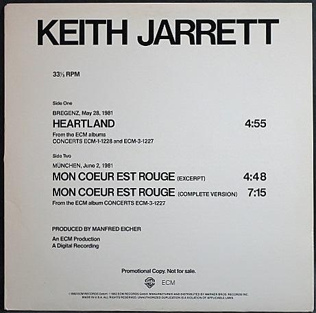 "Keith Jarrett キース・ジャレット / Heartland, Mon Coeur Est Rouge | Promo, 12"""