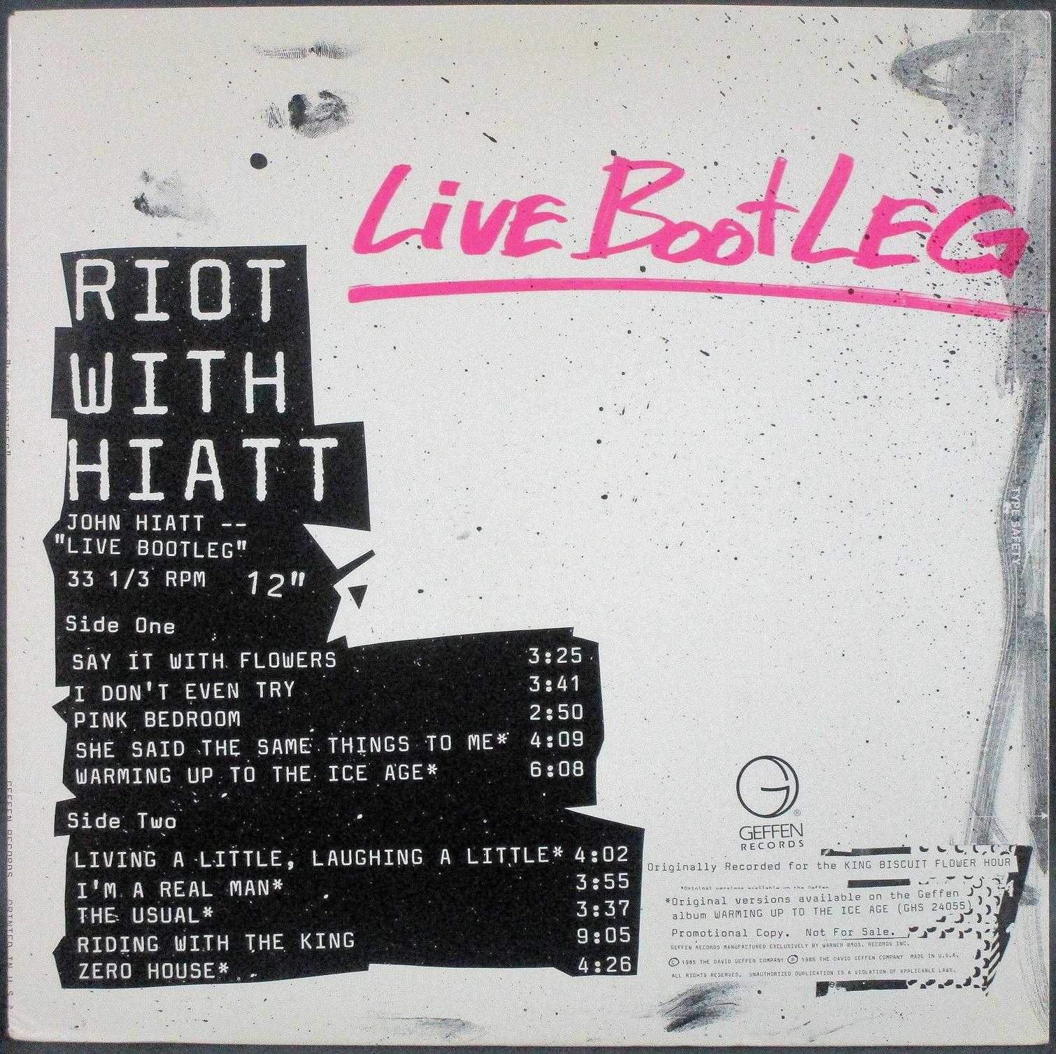 "John Hiatt ジョン・ハイアット / Riot WIth Hiatt - ""Live Bootleg""   Promo"