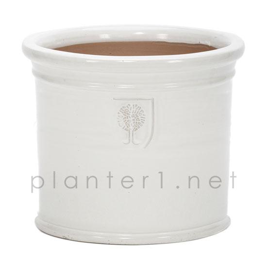 イギリスRHS・プレミアム釉薬鉢・ミルズ 37cm (ホワイト) (SS-SPK-RH02L-WT)