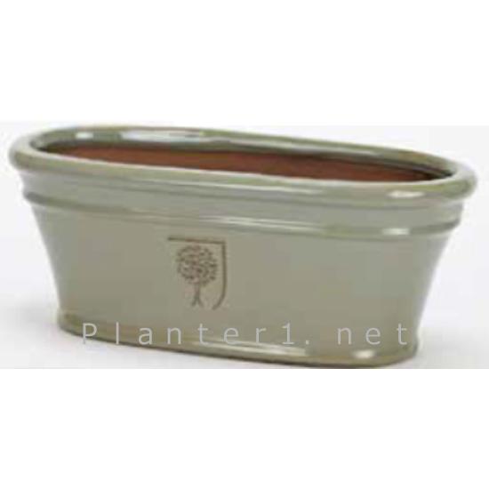 イギリスRHS・プレミアム釉薬鉢・オーバル 31.5cm (グレー) (SS-SPK-RH15GLM)