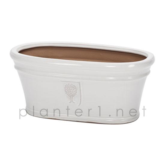 イギリスRHS・プレミアム釉薬鉢・オーバル 45cm (ホワイト) (SS-SPK-RH15WL)