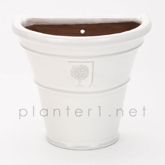 イギリスRHS・プレミアム釉薬鉢・ウォールハンギング H20cm (ホワイト) (SS-SPK-RH22W)