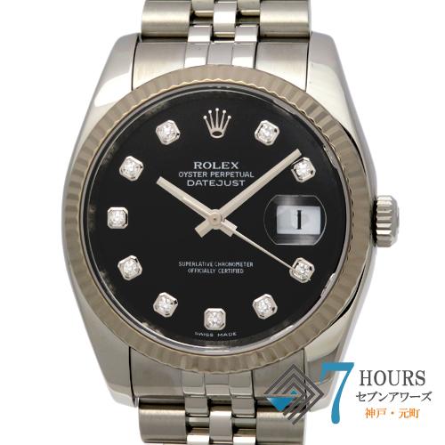【100714】ROLEX ロレックス 116234G デイトジャスト ブラックダイヤル 10Pダイヤ V番 WG/SS 自動巻き
