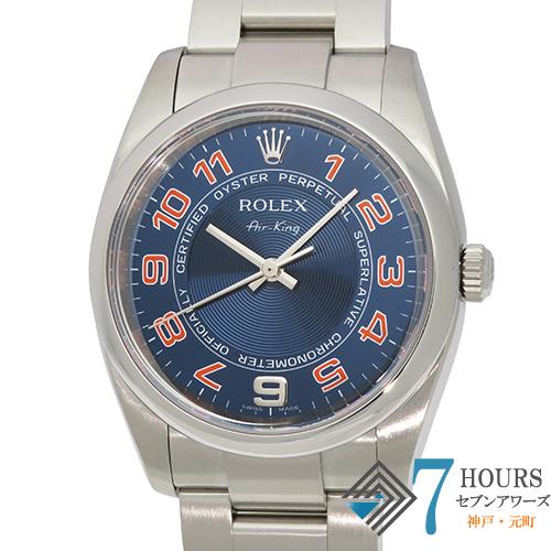 【103231】ROLEX ロレックス 114200 エアキング M番 ブルーコンセントリック オレンジアラビア SS 自動巻き ギャランティーカード