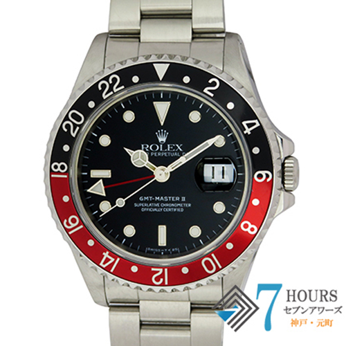 【96692】ROLEX ロレックス 16710 GMTマスター2 L番 SS 赤黒ベゼル ブラックダイヤル SS 自動巻き