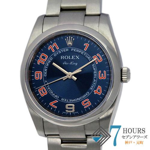 【100126】ROLEX ロレックス 114200 エアキング M番 ブルーピンクダイヤル SS 自動巻き