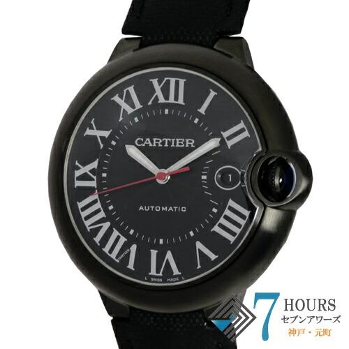 【101837】Cartier カルティエ WSBB0015 バロンブルーLM ブラックダイヤル  SS/レザー 自動巻き 純正ボックス 保証書