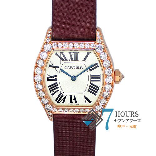 【87056】Cartier カルティエ トーチュSM ベゼルラグダイヤ 手巻き式 PG/レザー 純正ボックス 保証書