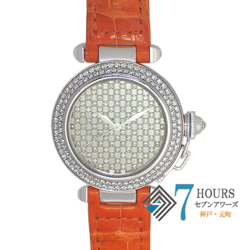 【92725】Cartier カルティエ パシャ32 ダイヤモンドダイヤル ベゼルダイヤ 自動巻き ホワイトゴールド/レザー 保証書