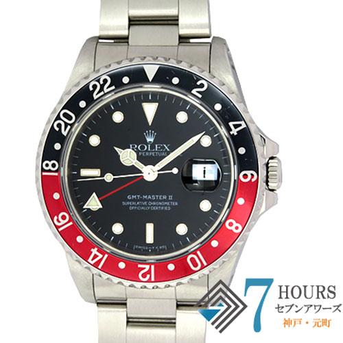 【96907】ROLEX ロレックス 16710 GMTマスター2 U番 SS 赤黒ベゼル ブラックダイヤル SS 自動巻き