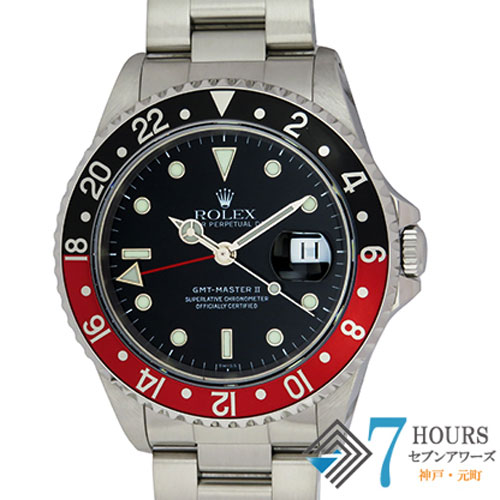 【96963】ROLEX ロレックス 16710 GMTマスター2 A番 赤黒ベゼル ブラックダイヤル SS 自動巻き 保証書 国際サービス保証書