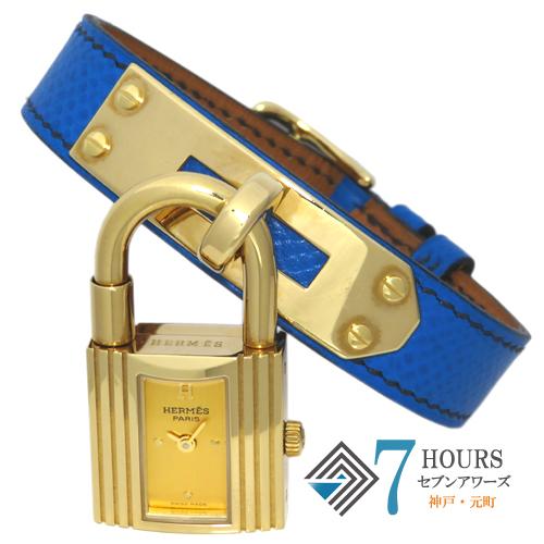 【98035】HERMES エルメス ケリーウォッチ シャンパンゴールドダイヤル GF/レザー 電池式 純正ボックス