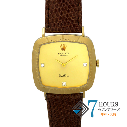 【98179】ROLEX ロレックス 4084 チェリーニ 3PD 42番台 シャンパンゴールドダイヤル YG/レザー 手巻式