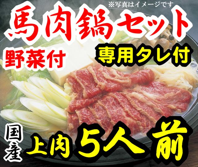 【D-25】上さくら鍋セット5人前 赤身スライス 専用たれ付 野菜付 馬肉鍋 桜鍋
