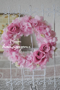 結婚式のフラワー電報に! ピンクのミニリース