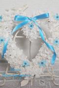 結婚式のフラワー電報に!ブルースター サムシングブルーのリース