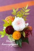 結婚式のフラワー電報に!ピンポンマムと輪菊の和モダンアレンジ