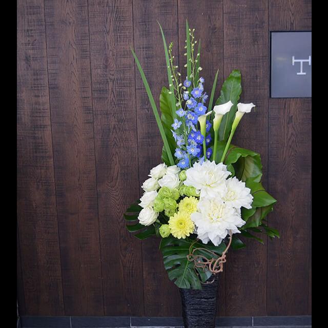 【配達回収無料】籠スタンド花   カラー・バラ・ダリア・デルフュニューム他