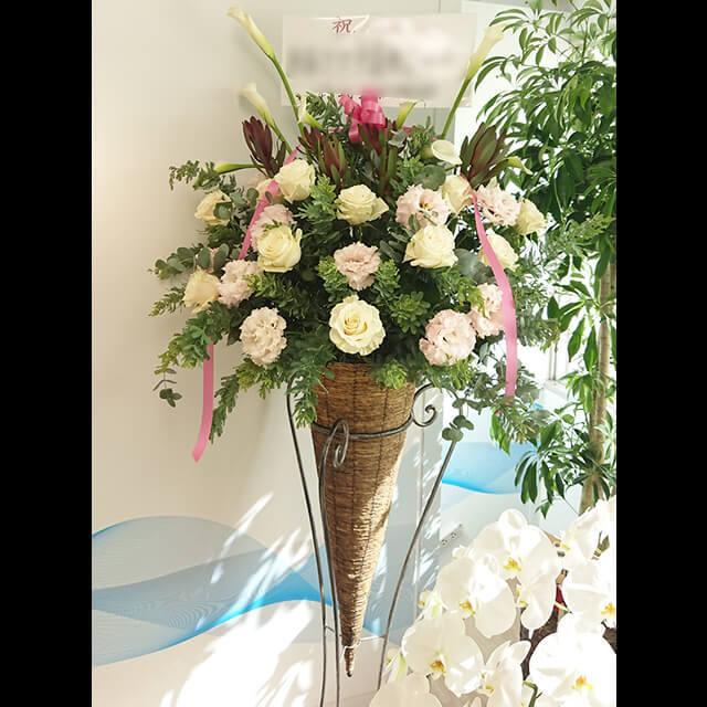 【配達回収無料】コーンスタンド花 | バラ、カラー、リューカデンドローム、アスパラ他