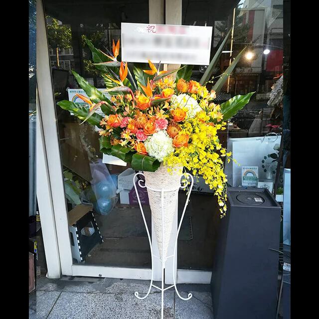 【配達回収無料】コーンスタンド花 | ストレチア、オンシジューム、ピンクッション、紫陽花、アルストロメリア、バラ 他