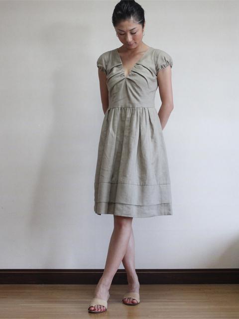 Style NO.gal-040 リネンVネックギャザーワンピース