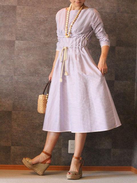 Style NO gal-075 パープルボーダーサマーリゾートドレス