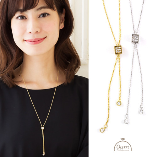 Y style square necklace