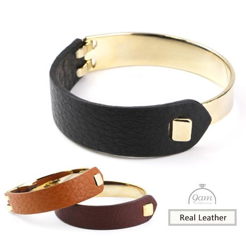gold leather bracelet