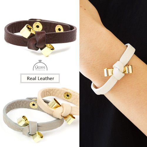 ribbon leather bracelet