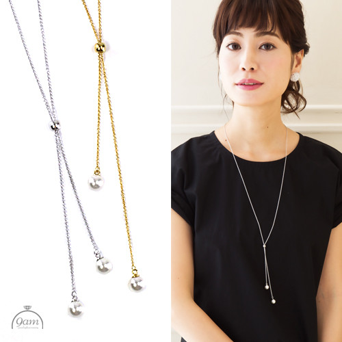 Y style pearl necklace