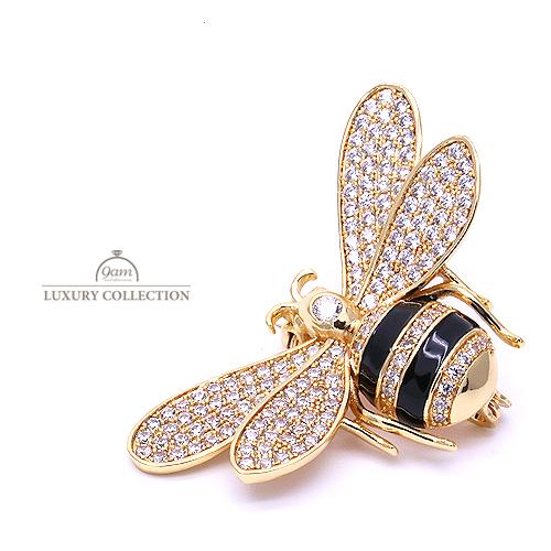 ブローチ ミツバチ 蜂 ゴールド ラインストーン