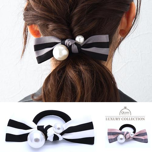 stripe×pearl hairaccessory