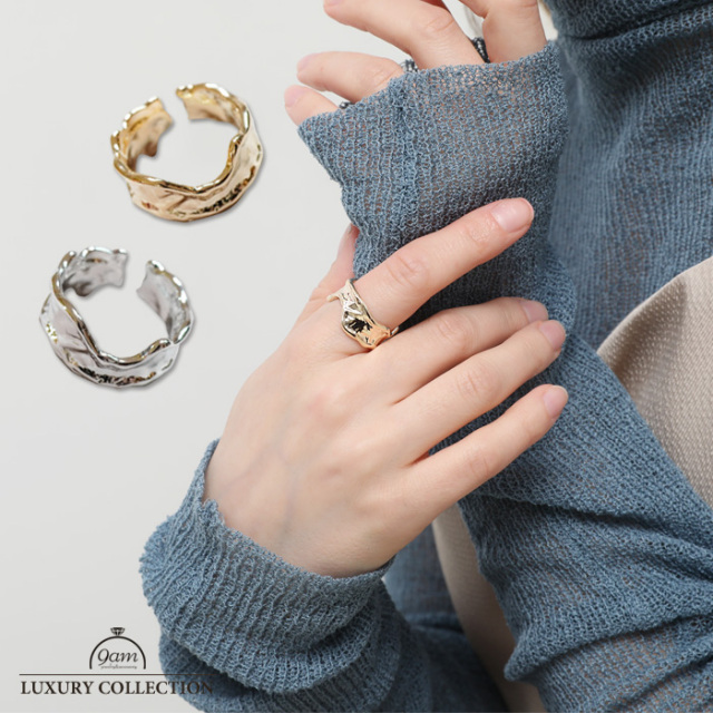リング 上品 ワイド トレンド 指輪 ニッケルフリー 存在感 ゴールド シルバー