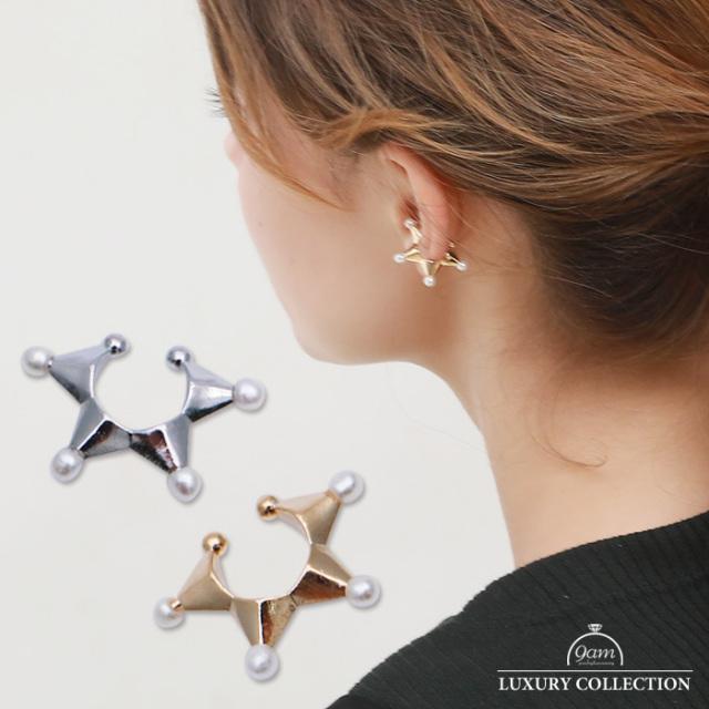 イヤーカフ 片耳用 パール 星 スター レディース  金属アレルギー対応 上品  華やか 上品 プレゼント シルバー ゴールド ピアス 小 重ね付け