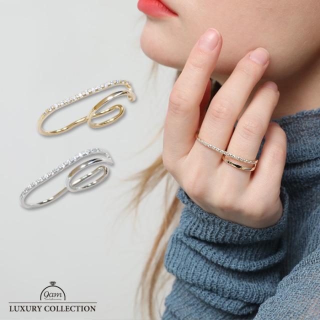 リング ツーフィンガー ラインストーン トレンド 指輪 ニッケルフリー 存在感 ゴールド シルバー