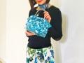 ★新花柄輸入生地★ 【超軽量チェーンバッグ】ランチバッグ ターコイズブルー花柄 GirierMore