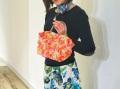 ★新花柄輸入生地★ 【超軽量チェーンバッグ】ランチバッグ オレンジ&ピンク花柄 GirierMore
