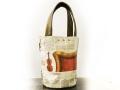 《新色》【世界に一つだけのトートバッグ】フランス・ドイツ新聞バケツ型トート  持ち手ブロンズ革