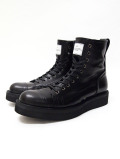 "Hi-cut Leather Sneaker Boots""TOXIC""-ALL BLACK-"