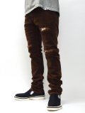 Corduroy Clash Skinny Pants-BROWN-