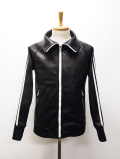 "Leather Jersey Jacket""ADDICT""-BLACK-"