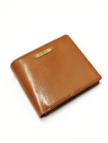 Leather Bi-fold Wallet-BROWN-