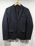Pin Stripe Tailored Jacket-BLACK-