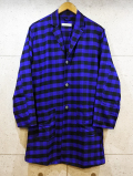 Long Check Shirts Jacket-BLOCK CHECK BLUE-