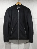 Suede Single Rider's Jacket-BLACK-