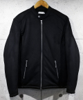 Suede Boa Single Rider's Jacket-BLACK-