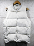 Rib Neck Padded Vest-GRAY BEIGE-