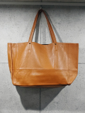 Cow Leather Tote Bag-CAMEL-