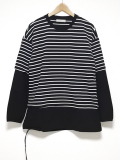 Fake Layered Knit Sawn-BLACK-